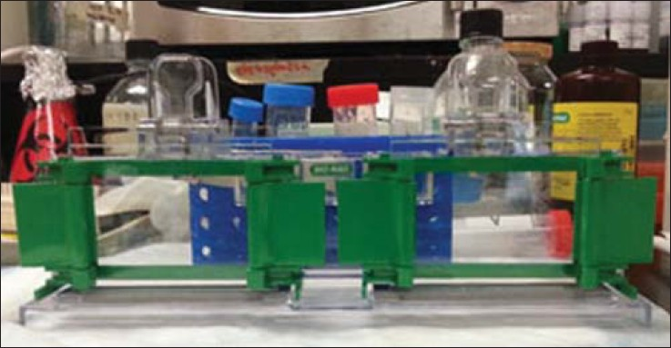 Figure 1: Assembled rack for gel solidification